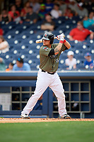 Nashville Sounds catcher Bruce Maxwell (36) at bat during a game against the New Orleans Baby Cakes on April 30, 2017 at First Tennessee Park in Nashville, Tennessee.  The game was postponed due to inclement weather in the fourth inning.  (Mike Janes/Four Seam Images)