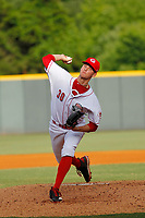 Greeneville Reds pitcher Ricky Karcher (30) on the mound during a game against the Bristol Pirates at Pioneer Field on June 20, 2018 in Greeneville, Tennessee. Bristol defeated Greeneville 11-0. (Robert Gurganus/Four Seam Images)