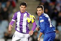 Getafe's Xavi Torres (r) and Real Valladolid's Javi Guerra during La Liga match.November 18,2012. (ALTERPHOTOS/Acero) NortePhoto