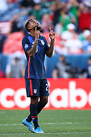 DENVER, CO - JUNE 3: Kellyn Acosta #23 of the United States celebrates during a game between Honduras and USMNT at Empower Field at Mile High on June 3, 2021 in Denver, Colorado.