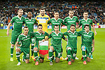 Terziev and Misidjan and Dyakov and Minev and Stoyanov and Abalo of Ludogorets during Champions League match between Real Madrid and Ludogorets at Santiago Bernabeu Stadium in Madrid, Spain. December 09, 2014. (ALTERPHOTOS/Luis Fernandez)
