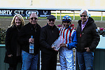 Fed Biz with Mike Smith aboard wins the San Fernando Stakes G2 at Santa Anita Park in Arcadia, California on January 12, 2013. To present the trophy was Hall of Fame jockey Eddie Delahoussaye who won the San Fernando 30 years ago.