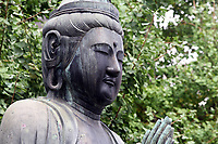 A Buddhist statue in the grounds of Sensoji, an ancient Buddhist temple, in Tokyo.