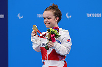 28th August 2021; Tokyo, Japan; Maisie Summers-Newton (GBR), Swimming : Women's 100m Breaststroke SB6 Medal ceremonyduring the Tokyo 2020 Paralympic Games at the Tokyo Aquatics Centre in Tokyo, Japan.