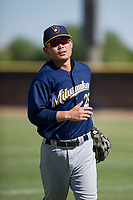 Milwaukee Brewers second baseman Keston Hiura (25) jogs off the field between innings during an Instructional League game against the San Diego Padres on September 27, 2017 at Peoria Sports Complex in Peoria, Arizona. (Zachary Lucy/Four Seam Images)