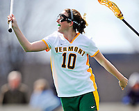 5 April 2008: University of Vermont Catamounts' Midfielder Megan MacDonald, a Freshman from Wayland, MA, celebrates scoring her second goal of the day against the University at Albany Great Danes at Moulton Winder Field, in Burlington, Vermont. With only seconds left in regulation time, the Catamounts rallied to defeat the visiting Danes 11-10 in America East conference play...Mandatory Photo Credit: Ed Wolfstein Photo