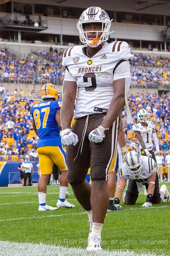 WMU running back La'Darius Jefferson celebrates his three-yard touchdown run. The Western Michigan University Broncos defeated the Pitt Panthers 44-41 at Heinz Field, Pittsburgh, Pennsylvania on September 18, 2021.