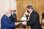 Palestinian President Mahmoud Abbas, receives the Credentials of the Swiss Ambassador to the State of Palestine, in the West Bank city of Ramallah, on March 9, 2021. Photo by Thaer Ganaim