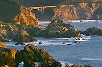 Rocky Creek Bridge from near the<br />   mouth of Palo Colorado Canyon<br /> Big Sur Coast<br /> Monterey County,  California