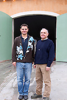Jean-Pierre Rambier with his son. Domaine Haut-Lirou in St Jean de Cuculles. Pic St Loup. Languedoc. Owner winemaker. France. Europe.