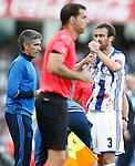 Real Sociedad's Mikel Gonzalez injured during La Liga match. August 21,2016. (ALTERPHOTOS/Acero)