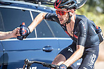 Adam Yates (GBR) back at the team car for refreshments during Stage 2 of La Vuelta d'Espana 2021, running 166.7km from Caleruega. VIII Centenario de Santo Domingo de Guzmán to Burgos. Gamonal, Spain. 15th August 2021.    <br /> Picture: Unipublic/Charly Lopez   Cyclefile<br /> <br /> All photos usage must carry mandatory copyright credit (© Cyclefile   Unipublic/Charly Lopez)