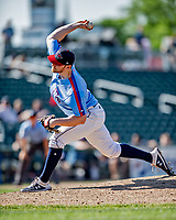 23 June 2019: New Hampshire Fisher Cats pitcher Bryan Baker on the mound against the Trenton Thunder at Northeast Delta Dental Stadium in Manchester, NH. The Thunder defeated the Fisher Cats 5-2 in Eastern League play. Mandatory Credit: Ed Wolfstein Photo *** RAW (NEF) Image File Available ***