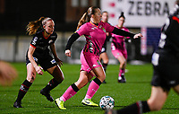 Megane Vos (20) of Sporting Charleroi pictured with defending Lotte De Wilde (19) of Zulte-Waregem during a female soccer game between Sporting Charleroi and SV Zulte-Waregem on the 12 th matchday of the 2020 - 2021 season of Belgian Scooore Womens Super League , friday 29 th of January 2021  in Marcinelle , Belgium . PHOTO SPORTPIX.BE | SPP | DAVID CATRY