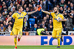 Mario Mandzukic of Juventus (L) celebrates after scoring his goal with Gonzalo Higuain of Juventus (R) during the UEFA Champions League 2017-18 quarter-finals (2nd leg) match between Real Madrid and Juventus at Estadio Santiago Bernabeu on 11 April 2018 in Madrid, Spain. Photo by Diego Souto / Power Sport Images