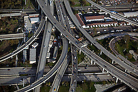aerial photograph of the interchange of the interstate 5 and I-8 freeways, San Diego, California