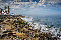 Fine Art Landscape Photograph. Ocean waves crashing in on the rocks in Banderas Bay, Puerto, Vallarta, Mexico.