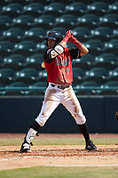 Miguel Aparicio (5) of the Hickory Crawdads at bat against the Lakewood BlueClaws at L.P. Frans Stadium on April 28, 2019 in Hickory, North Carolina. The Crawdads defeated the BlueClaws 10-3. (Brian Westerholt/Four Seam Images)