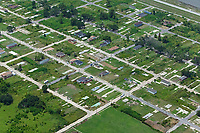 aerial photograph of building slabs from houses destroyed by Hurricane Katrina  Lower Ninth Ward, New Orleans, Louisiana