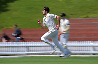 Ian Gibson bowls during day two of the Plunket Shield match between the Wellington Firebirds and Canterbury at Basin Reserve in Wellington, New Zealand on Tuesday, 20 October 2020. Photo: Dave Lintott / lintottphoto.co.nz