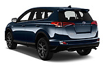 Car pictures of rear three quarter view of a 2018 Toyota RAV4 Black edition Hybride 5 Door SUV angular rear