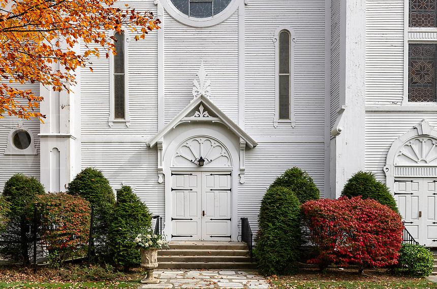 Congregational Church detail, Manchester, Vermont, USA.