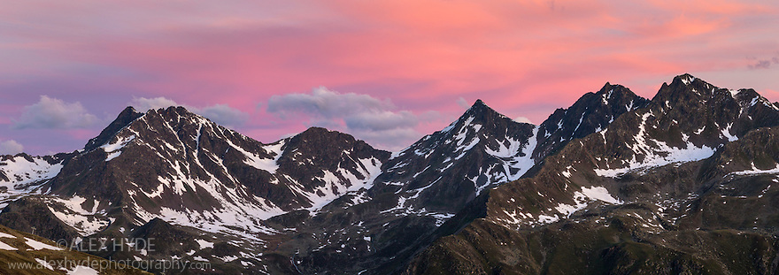 Mountain ridge at dawn, Nordtirol, Austrian Alps, June. Digitally stitched panoramic image.
