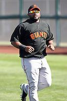 Pablo Sandoval. San Francisco Giants spring training workouts at Scottsdale Stadium,  Scottsdale, AZ - 02/26/2010.Photo by:  Bill Mitchell/Four Seam Images.