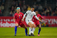 CARSON, CA - FEBRUARY 7: Kiana Palacios #8 of Mexico is marked by Julie Ertz #8 and Crystal Dunn #19 of the United States during a game between Mexico and USWNT at Dignity Health Sports Park on February 7, 2020 in Carson, California.