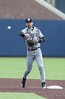 Western Michigan Broncos shortstop Drew Devine (3) makes a throw to first base against the Michigan Wolverines on March 18, 2019 in the NCAA baseball game at Ray Fisher Stadium in Ann Arbor, Michigan. Michigan defeated Western Michigan 12-5. (Andrew Woolley/Four Seam Images)