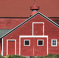Colorful red barn, Reading, Vermont, USA.