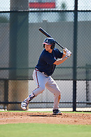 Atlanta Braves Andrew Moritz (91) at bat during a Florida Instructional League game against the Philadelphia Phillies on October 5, 2018 at the Carpenter Complex in Clearwater, Florida.  (Mike Janes/Four Seam Images)
