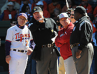 Clemson head coach Jack Leggett (7), left, and USC head coach Ray Tanner (1) hear the ground rules from the umpires before a game between the Clemson Tigers and South Carolina Gamecocks Saturday, March 6, 2010, at Fluor Field at the West End in Greenville, S.C. Photo by: Tom Priddy/Four Seam Images
