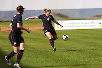 Cat Whitehill sizes up a volley. The USWNT defeated Iceland (2-0) at Vila Real Sto. Antonio in their opener of the 2010 Algarve Cup on February 24, 2010.