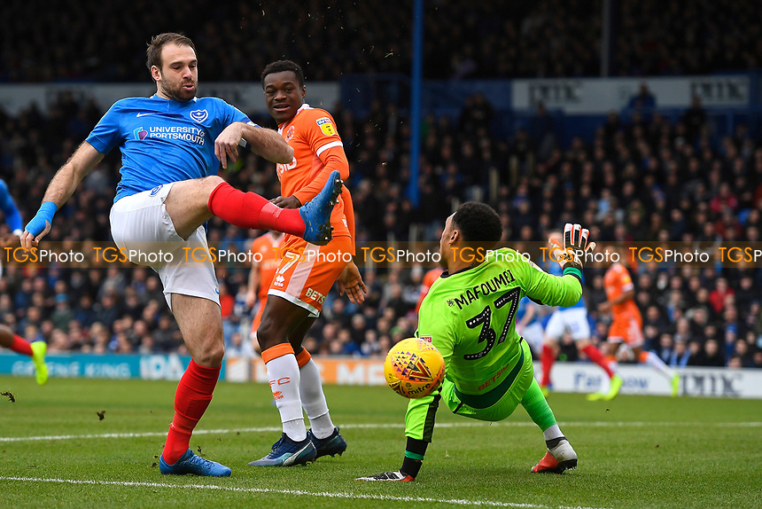 Brett Pitman of Portsmouth has an early chance during Portsmouth vs Blackpool, Sky Bet EFL League 1 Football at Fratton Park on 12th January 2019