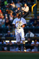 Bradenton Marauders center fielder Elvis Escobar (16) at bat during a game against the Fort Myers Miracle on April 9, 2016 at McKechnie Field in Bradenton, Florida.  Fort Myers defeated Bradenton 5-1.  (Mike Janes/Four Seam Images)