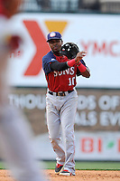 Second baseman Osvaldo Abreu (10) of the Hagerstown Suns, fields a ground ball in a game against the Greenville Drive on May 12, 2015, at Fluor Field at the West End in Greenville, South Carolina. Greenville won, 4-0. (Tom Priddy/Four Seam Images)