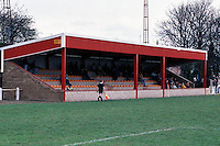 Fenland Park, home of Wisbech Town FC (Cambridgeshire), pictured in April 1991 - Gavin Ellis/TGSPHOTO - Self billing applies where appropriate - 0845 094 6026 - contact@tgsphoto.co.uk - NO UNPAID USE..