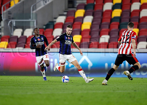 7th November 2020; Brentford Community Stadium, London, England; English Football League Championship Football, Brentford FC versus Middlesbrough; Lewis Wing of Middlesbrough in action