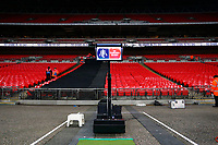 A VAR system on the touchline of the pitch prior to kick off of the Fly Emirates FA Cup Fourth Round Replay match between Tottenham Hotspur and Newport County at Wembley Stadium, London, England, UK. 07 February 2018
