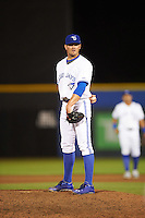 Dunedin Blue Jays relief pitcher Brad Allen (25) looks in for the sign during a game against the Palm Beach Cardinals on April 15, 2016 at Florida Auto Exchange Stadium in Dunedin, Florida.  Dunedin defeated Palm Beach 8-7 in ten innings.  (Mike Janes/Four Seam Images)