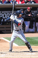Cedar Rapids Kernels second baseman Pat Kelly (9) at bat during a game against the Wisconsin Timber Rattlers on April 23rd, 2015 at Fox Cities Stadium in Appleton, Wisconsin.  Cedar Rapids defeated Wisconsin 3-0.  (Brad Krause/Four Seam Images)