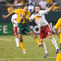 LA Galaxy Mid Peter Vagenas goes head to head for a ball with New York Red Bulls Mid Danny O'Rourke. LA Galaxy defeated New York 1-0 during a MLS game at The Home Depot Center in Carson, California, Tuesday July 4, 2006.