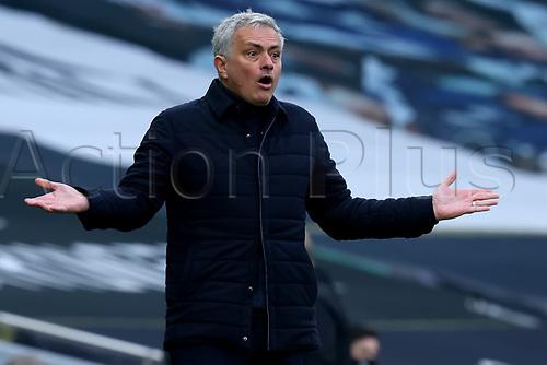 28th February 2021; Tottenham Hotspur Stadium, London, England; English Premier League Football, Tottenham Hotspur versus Burnley; Tottenham Hotspur Manager Jose Mourinho reacts to a referee decision