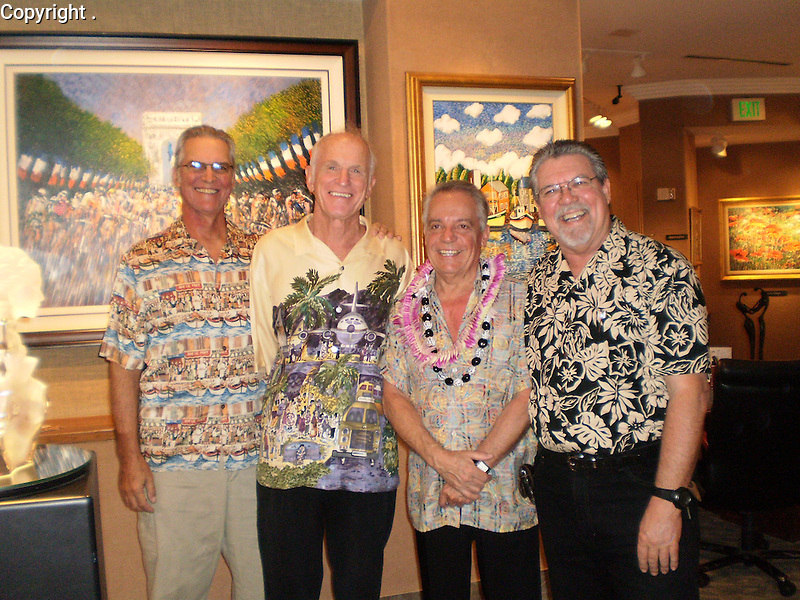 Guy and his long time associates on Maui;<br /> Ron Wall, Lahaina Galleries Owner, Jim Killett and Michael Azevedo, at Guy's 66th Birthday Show! These guys have grown up together!