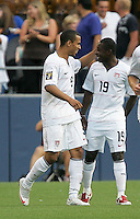 Freddy Adu (19) celebrates Charlie Davies' (9) goal. USA defeated Grenada 4-0 during the First Round of the 2009 CONCACAF Gold Cup at Qwest Field in Seattle, Washington on July 4, 2009.