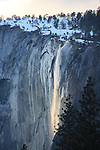 Yosemite, Horestail Falls, El Capitan with snow, Yosemite in winter, waterfall, snow and trees.<br /> Mariposa County Fair - Award Winning Images<br /> Fine Art Landscape  <br /> Photo by Joelle Leder Photography Studio ©