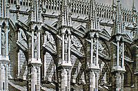 Reims Cathedral: exterior, detail of flying buttresses on south side of nave, ca. 1211-1290. Gothic style