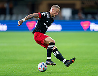 WASHINGTON, DC - APRIL 17: Erik Sorga #50 of D.C. United controls the ball during a game between New York City FC and D.C. United at Audi Field on April 17, 2021 in Washington, DC.