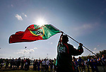 Community Games..Flying the Flag...Darragh Owens, age 12 from Ballina, Co. Mayo, pictured flying the county flag at the Community Games National Finals held in Athlone, Co. Westmmeath.